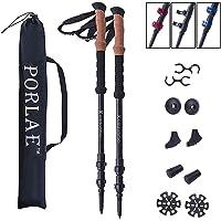 Trekking Poles, Adjustable Lightweight Hiking Poles, Aluminum 7075 Walking Sticks, Quick Flip Lock EVA Grip, 3-Gear Length/All Terrain Accessories and Carry Bag- 2 Poles