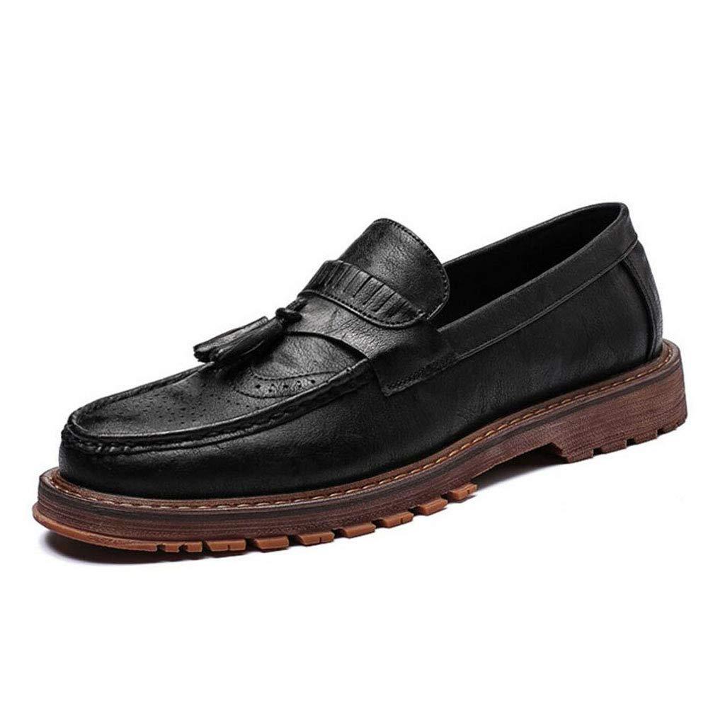 Zxcvb Männer Klassische Lok Fu Schuhe Quasten British Retro Leder Lok Fu Schuhe Herren One Foot England Schuhe Schwarz/Braun