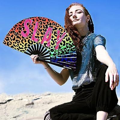 Large Hand Fan Drag Queen Iridescent GOLDEN Gay Pride Party FAN Black