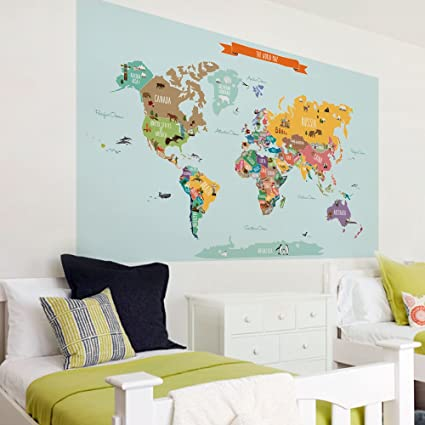Amazon countries of the world map poster wall sticker large countries of the world map poster wall sticker large 70quot w x 455quot gumiabroncs Gallery