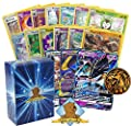 Pokemon Sun & Moon Series Legendary GX Lot - 100 Pokemon Card Lot with 1 Sun & Moon Series GX! Rares Foils and Coin! Includes Golden Groundhog Deck Box!