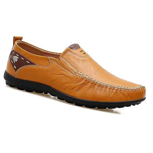 Gtagain Hombre Zapatos de Cuero - Mocasines Náuticos Ligero Confortable Suela Blanda Casual Zapatos de Trabajo Conducir: Amazon.es: Zapatos y complementos