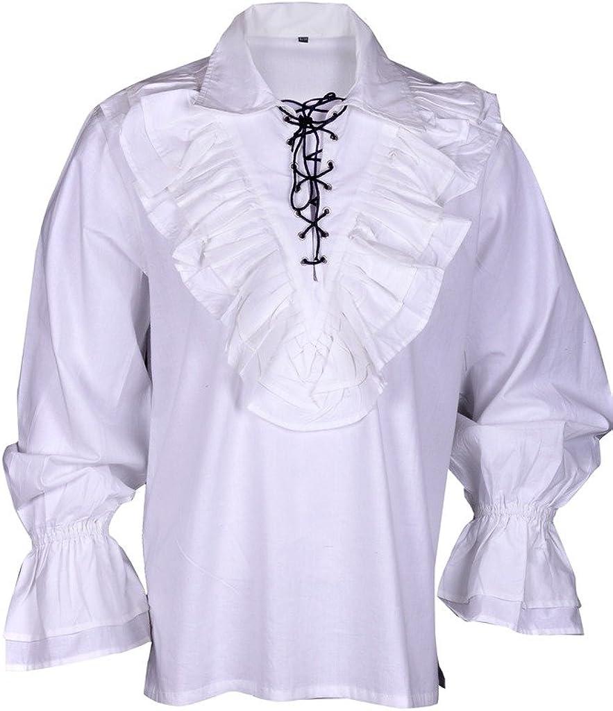 Renacimiento Ocasional de la Camisa del Verano del Pirata Medieval Hombres Traje Blanco y Negro Colores Todos los tamaños: Amazon.es: Ropa y accesorios