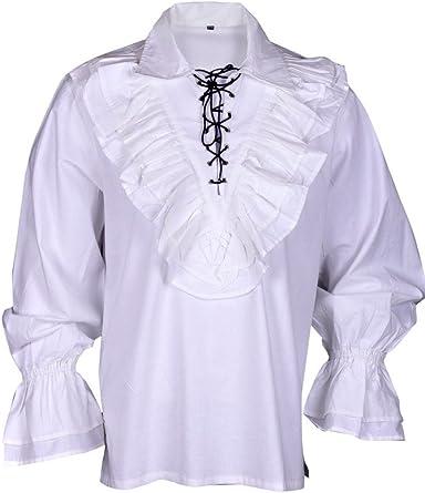 BARES Renacimiento Casual Verano Camisa de Pirata Medieval Disfraz de Hombre Blanco Large: Amazon.es: Ropa y accesorios