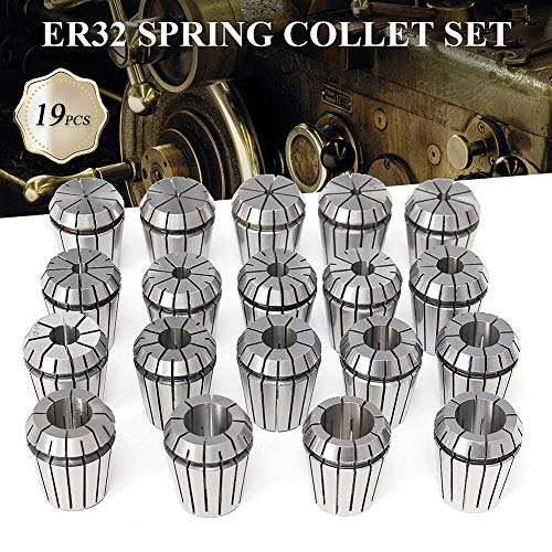 dezirZJjx ER32 Collet Set,19Pcs Spring Collets for CNC Milling Lathe Tool Engraving - Taig Milling Machine