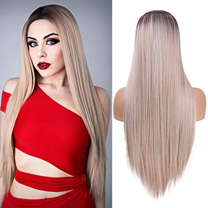 Peluca delantera que mira natural del cordón 24 pulgadas pelucas sintéticas rectas de Ombre de la peluca rubia recta mezclada larga de la manera