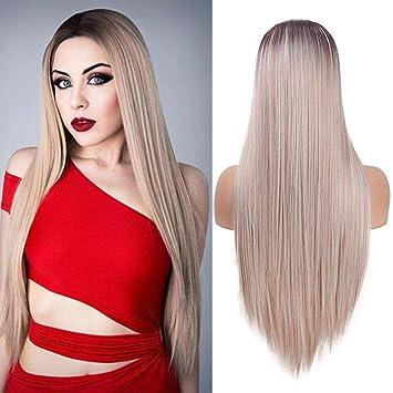 Perruque de cheveux longs et droits à la