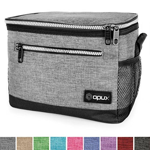 OPUX Premium Insulated Lunch Bag with Shoulder Strap | Lunch Box for Adults, Kids | Soft Leak Proof Liner | Medium Lunch Cooler for Office, School | Fits 6 Cans (Heather Gray) by OPUX