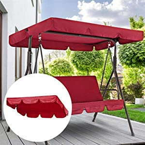 Patio Swing Seat Cover for Outdoor Garden Bench Swing Waterproof Anti-UV Canopy Replacement Cover
