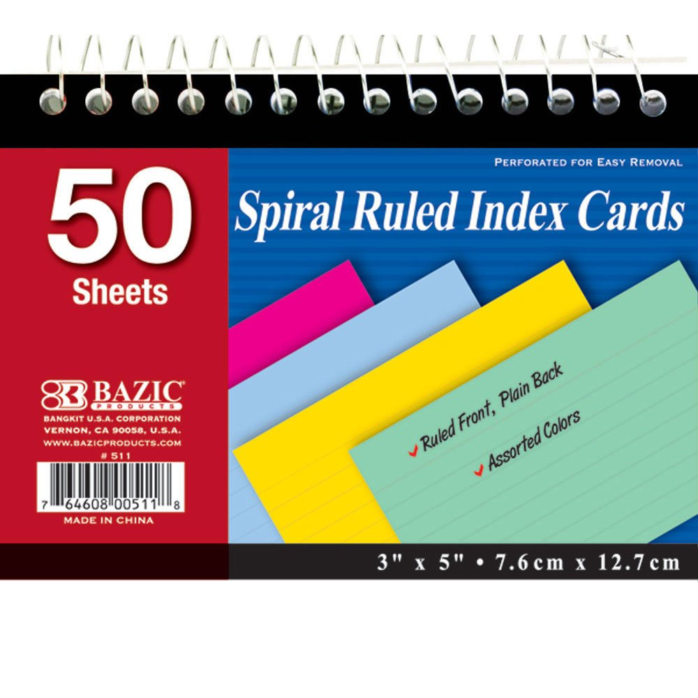 BAZIC 50 Ct. Spiral Bound 3'' X 5'' Ruled Colored Index Card, Case of 36