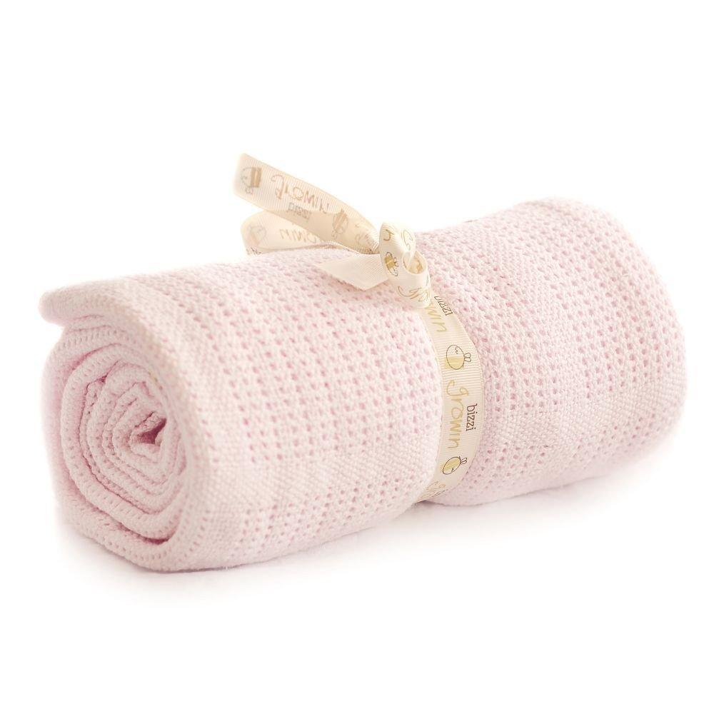 Bizzi Growin Cot Bed Cellular Blanket, 150 x 100 cm, Cream CBCELLCR