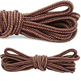 DailyShoes Round Hiking Boot Shoelaces Strong Durable Stylish Shoe Laces (Great for Utility Women's Men's Boot) Brown Light Tan 45