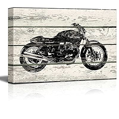 Rustic Wood Style Motorcycle Stencil - Canvas Art