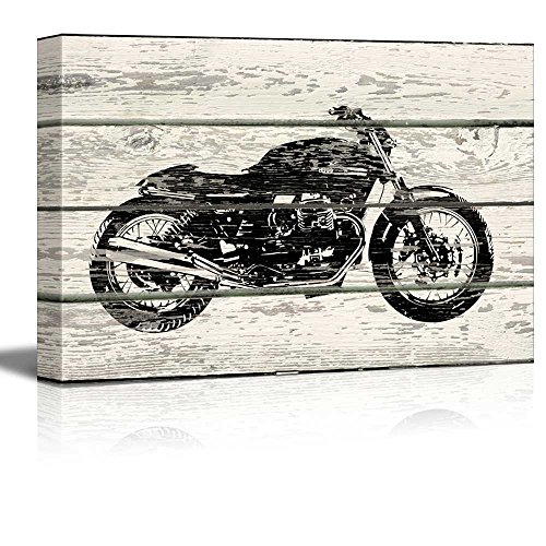 Wall26 - WoodCut Stencil Motorcycle Artwork - Rustic Canvas Wall Art Home Decor - 16x24 inches