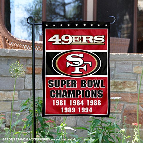 San Francisco 49ers 5 Time Super Bowl Champions Double Sided Garden Flag (Bowl 49ers San Super Francisco)