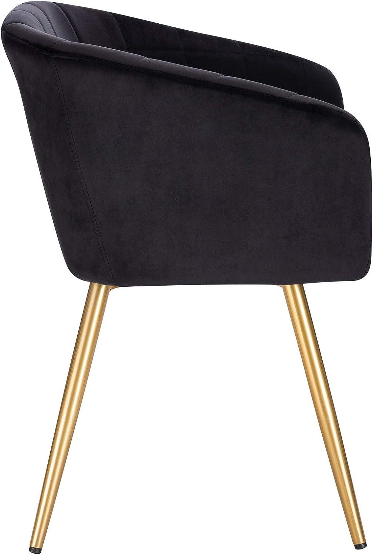 WOLTU 4 Pièces Chaises de Salle à Manger Chaise de réception en Velours et métal,Chaise de Chambre Vert Foncé BH261dgn-4 Noir