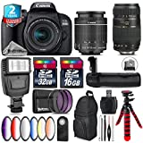 Canon EOS Rebel 800D / T7i Camera + 18-55mm IS STM Lens + Tamron 70-300mm Di LD Macro Lens + Battery Grip + 6PC Graduated Color Filter Set + 2yr Extended Warranty + 32GB - International Version