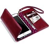 iPhone 7 Plus Tasche, Terrapin Handy Deluxe Leder Brieftasche Case Tasche Hülle mit Kartenfächer für iPhone 7 Plus Hülle Rot mit Gepunktet Interior