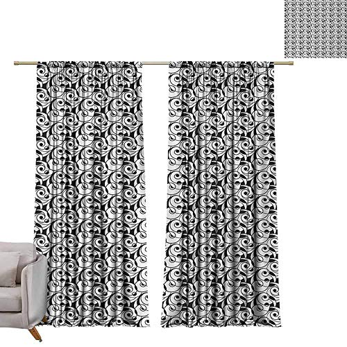 berrly Tie Up Shades Rod Blackout Curtains Black and White,Modern Abstract Art Inspirations with Monochrome Swirled Lines and Circles,Black White W96 x L108 Adjustable Tie Up Shade Rod Pocket Curtain