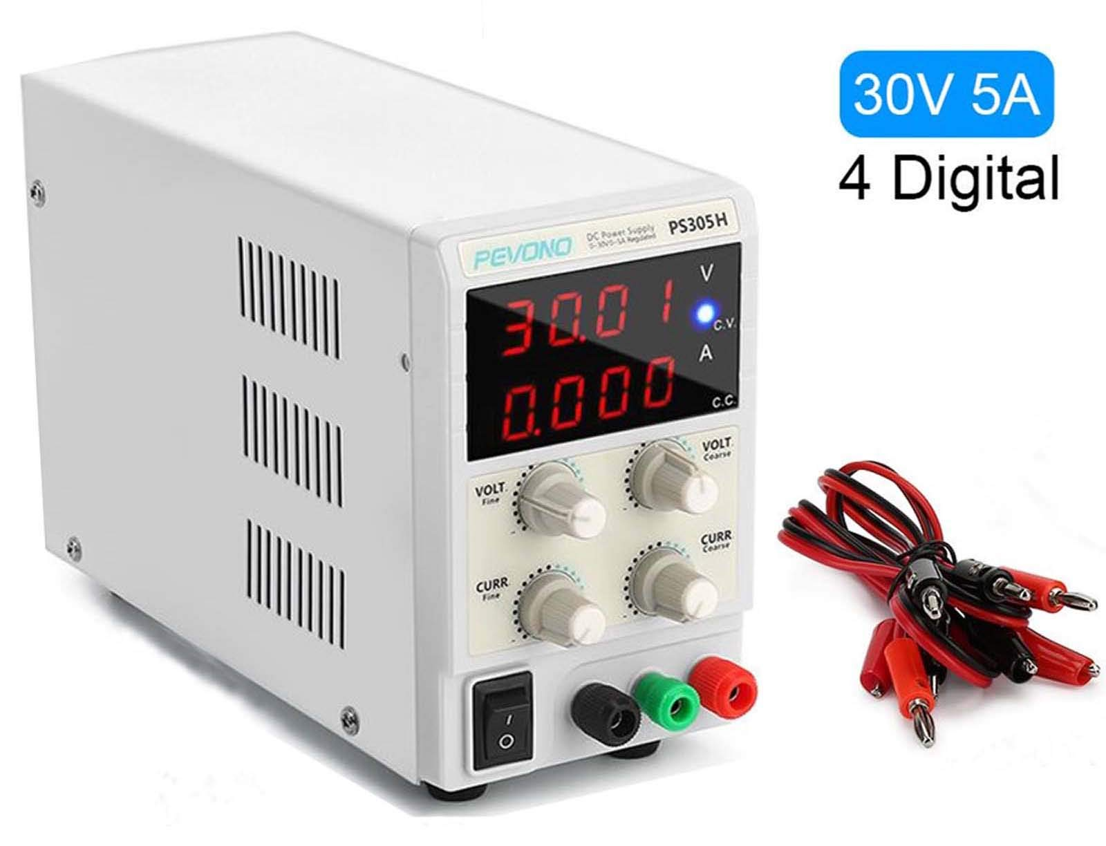 Best DC Bench Power Supply, Pevono PS305H 30V/5A 4 Digital LED Desktop Switching Variable Power Supply Voltage&Current Regulated Supply Power Source For Lab Repair,Electronic Tester, Power Calculator by Pevono (Image #1)