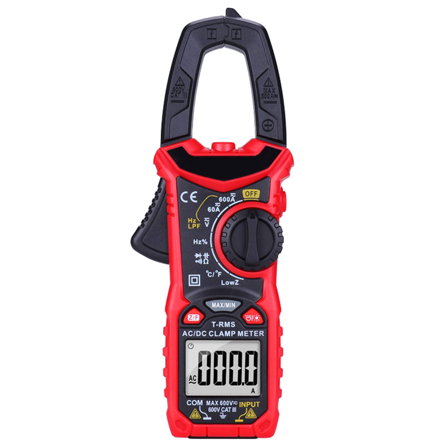 AUTENS AC/DC Digital Clamp Meter 6000 Counts True RMS Auto Range NCV AC DC Current Voltage Resistance Capacitance Frequency Diode Temperature Measure Tester, Backlight LCD Display Flashlight