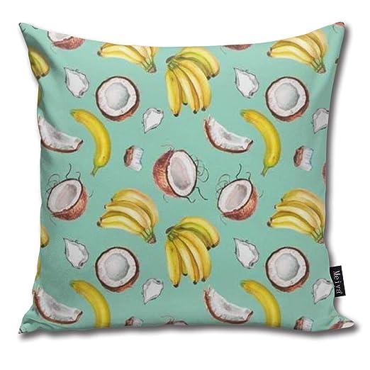 Liuzhis - Funda de cojín Cuadrada, diseño de plátano y Coco ...