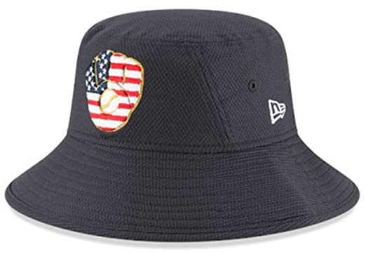 wholesale dealer efdbc 4e6cd Image Unavailable. Image not available for. Color  New Era Authentic, NWT, Milwaukee  Brewers 4th July Stars   Stripes Bucket Hat Navy