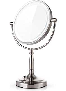 miusco 7x magnifying lighted makeup mirror 8 inch two sided led vanity mirror battery - Lighted Vanity Mirror