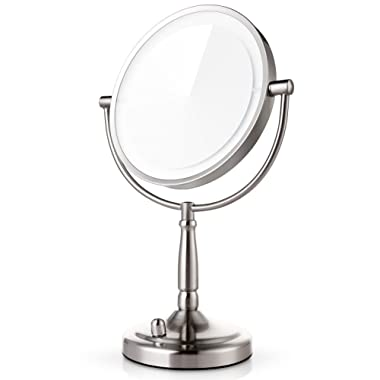 Miusco 7X Magnifying Lighted Makeup Mirror, 8 Inch Two Sided White Daylight LED Shadow Free LED Vanity Mirror, Battery and Adapter
