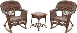 Jeco 3 Piece Rocker Wicker Chair Set, Honey