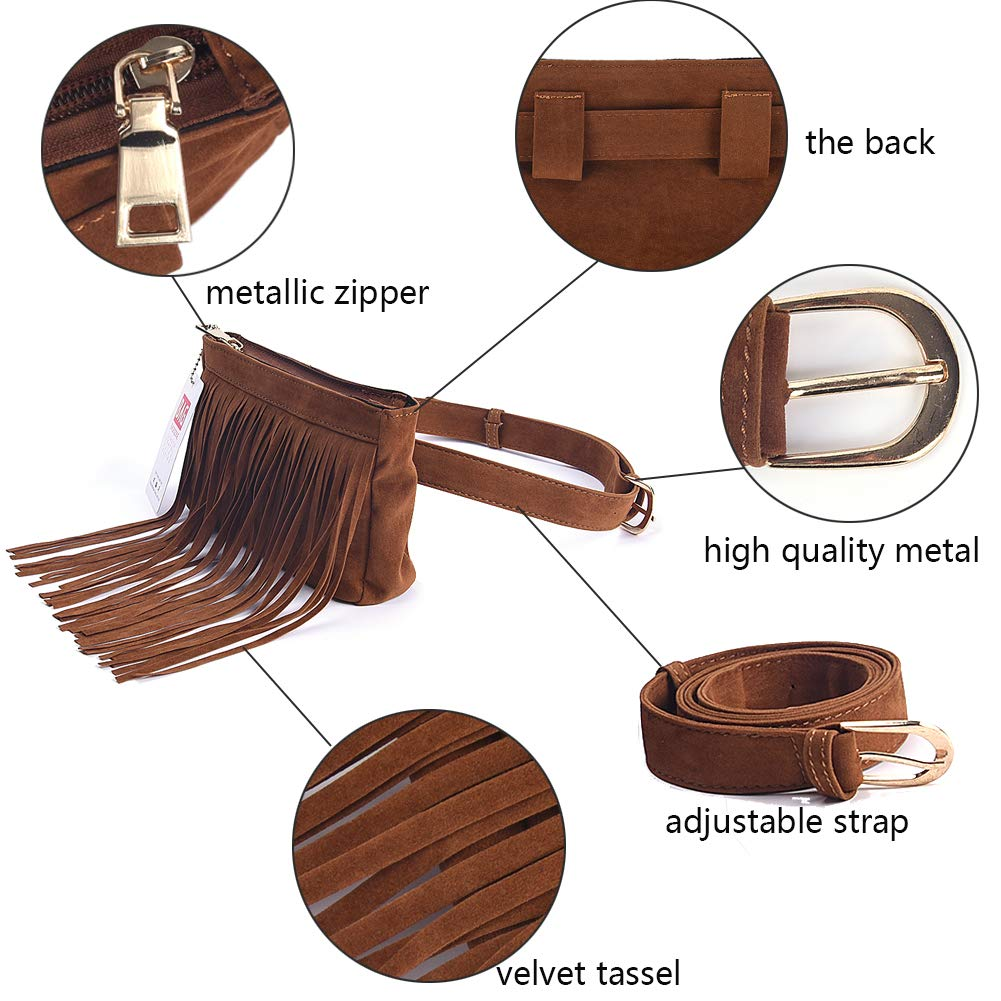 306f73664b18 Fashion Brown Velvet Fringe Tassel Waist Fanny Pack Belt Bag Travel Purse  for women