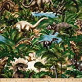 Timeless Treasures Dinosaurs Bones Green Fabric By The Yard