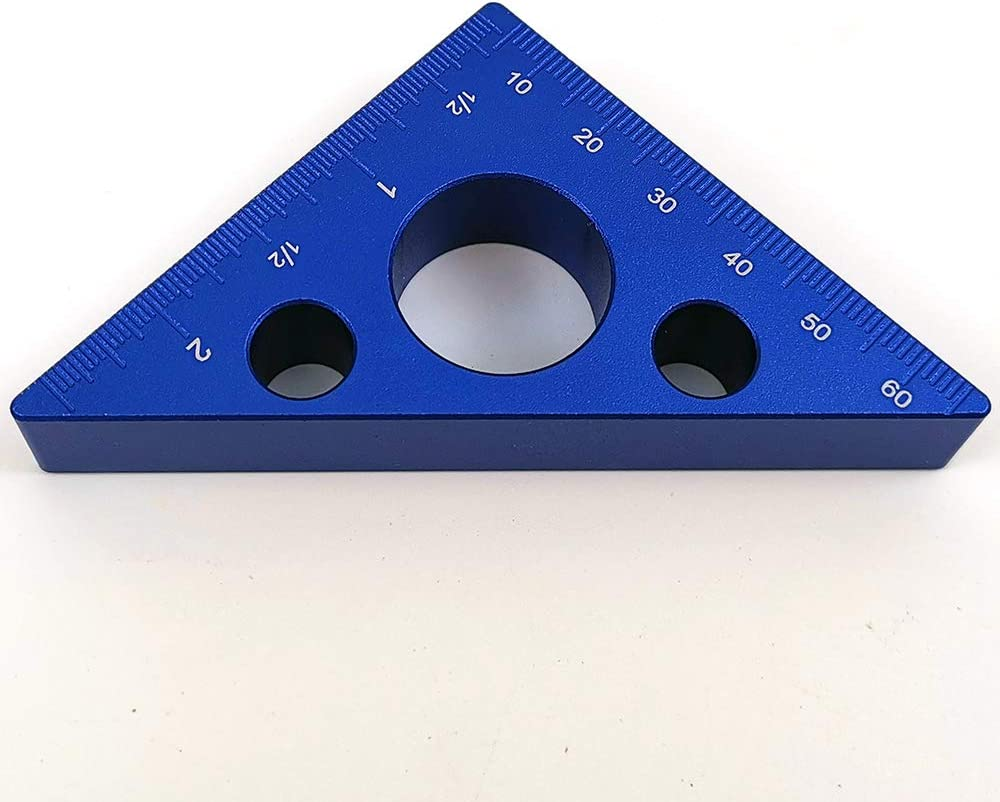 bleu Outils de pr/écision du bois R/ègle triangulaire en alliage daluminium Outil de mesure de la hauteur Angle de 45 degr/és /Équerre de menuiserie