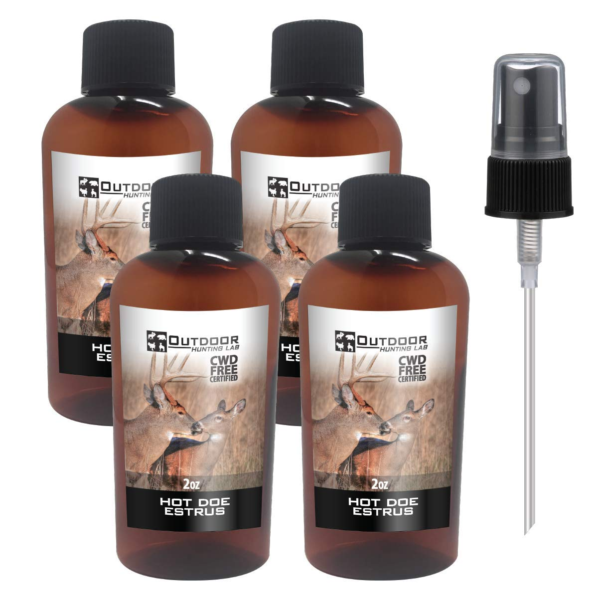 Outdoor Hunting Labs Deer Attractant Scent - HOT DOE Estrus Urine Lure - Whitetail Bucks, Doe in Rut, Pure Whitetail Scents (4 Bottle)