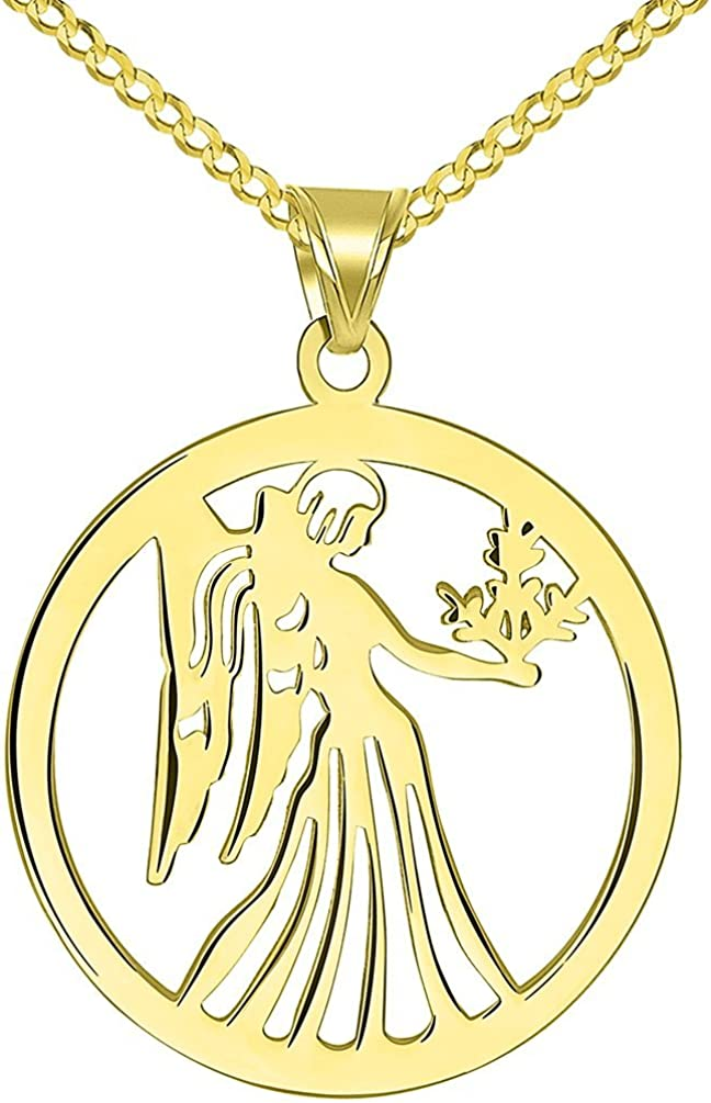 14k Yellow Gold Zodiac Virgo Pendant Rope Chain Necklace