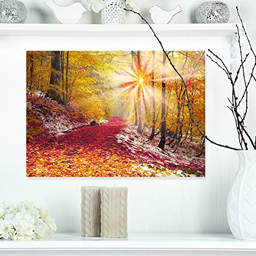 Design Art PT9718-40-30 Yellow Falling Leaves In Forest Landscape Photo Canvas Art Print,Red,40x30
