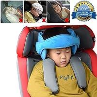 Soporte Cabeza,Reposacabezas Soporte Cabeza Sujeta Cabezas Coche para Niños Infantil Bebe Seguridad Cinturón de Sujeción Correa Ajustable para Asiento de Coche Cómoda Posicionador Cabeza (Azul)