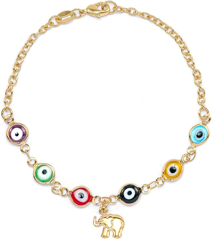 JEWELRY PARADISE Women/'s 14k Gold Plated Lucky Elephant Evil Eye Glass Beads Charms Bracelet Wrist Anklet Good Luck Money Magnet Protection Abundance Ojo Turco Elefante Pulso Suerte Proteccion