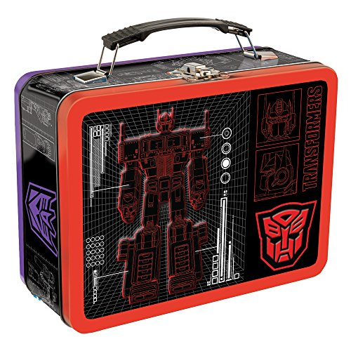 Vandor Transformers Large Tin Tote, 3.5 x 7.5 x 9 Inches - Transformer Box Metal Lunch