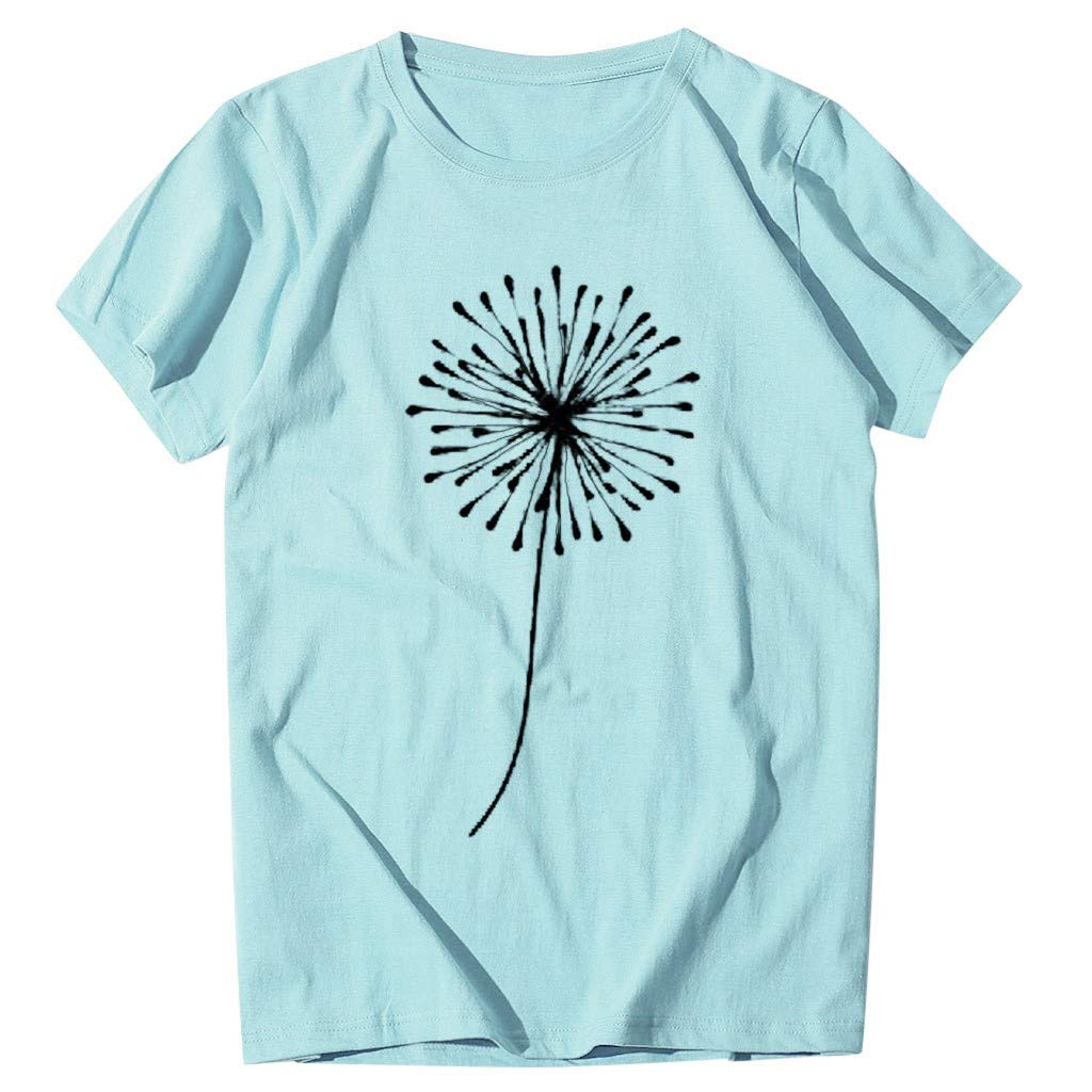 Plus Size Summer Dandelion T-Shirt Matching Jeans Ncek Round Neck T-Shirt Blouses Ladies Short Sleeve Top Womens Large Size Short Sleeves U