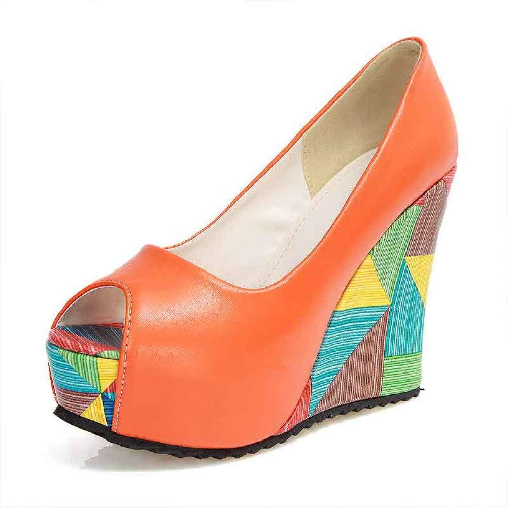 Ai Ya-liangxie Ya-liangxie Ya-liangxie Sommer Lady Marke Neue Geometrische Drucken High Heels Wedges Frauen Schuhe Frau Peep Toe Plattform Partei Pumpen Hochzeit d72994