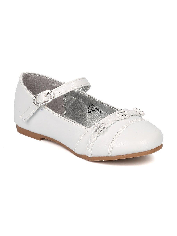 Alrisco Girls Round Toe Rhinestone Flower Mary Jane Ballet Flat HB77 - White Leatherette (Size: Toddler 7)