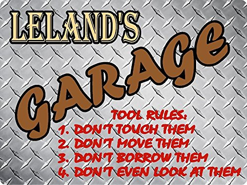 LELAND Garage tool rules diamond plate design parking décor sign 9