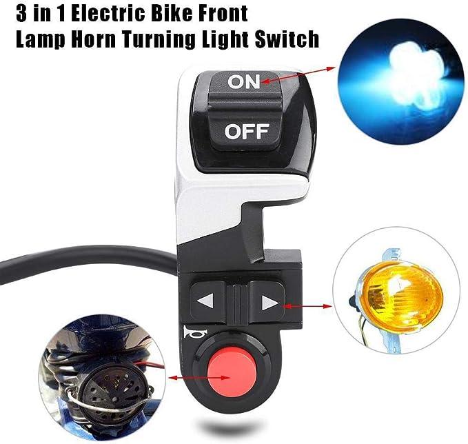 3-In-1 Scooter E-Bike Licht Hupe Blinker Licht Elektrisch Fahrrad Switch Neu
