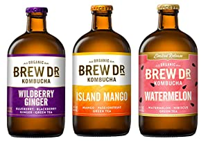 Brew Dr 3 Flavor Variety Pack, Wildberry Ginger, Watermelon, Island Mango, 14 Oz Bottles.
