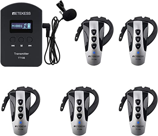 Case of 1 Transmitters and 5 Receivers,Retekess TT106,Wireless Tour Guide System,2.4GHz Church Translation Equipment,Ear-Hook Mini Receivers,Acoustic Transmission System for Court Training Teaching