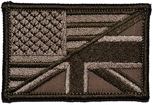 British Union Jack/USA Flag Patch 2x3 Morale Patch - Coyote