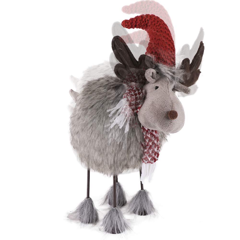 Valery Madelyn Decorazione natalizia oscillante Decorazione a forma di renna ca.42cm realizzata in tessuto e metallo con albero a molla incorporata corpo traballante traballante alce con pelliccia marrone e grigia figura animale per Natale
