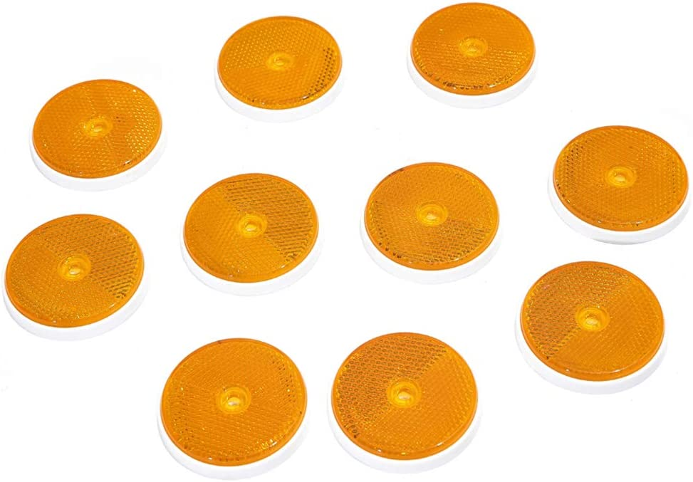 Yellow Round Rear Reflectors Screw Fixing Round Reflectors for Gate Posts Trailer Round Reflector Suitable for RV Truck Tractor Gate Reflectors TAEUTO 10 x Trailer Yellow Round Reflectors