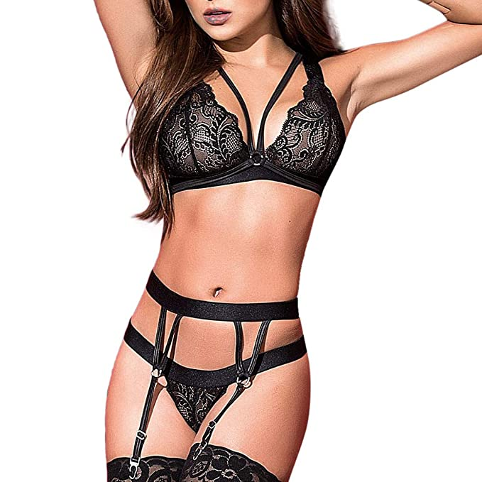 40824428c Happy-Day Women Sexy Lingerie Lingerie   Underwear Fashion Babydoll Sexy  Lingerie Lace Tights Bodysuit Garters  Amazon.co.uk  Clothing